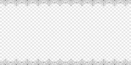 Vector elegante doppio su e giù per il telaio di ragnatela nera rettangolo con copia spazio isolato su sfondo trasparente. Modello per invito, volantino, album o biglietto di auguri. Confine di Halloween. Vettoriali