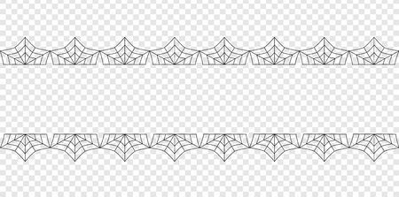Vector elegant double black spiderweb lace border with copy space for text isolated on transparent background. Template for invitation, flyer, scrapbook or greeting card. Halloween frame. Illustration