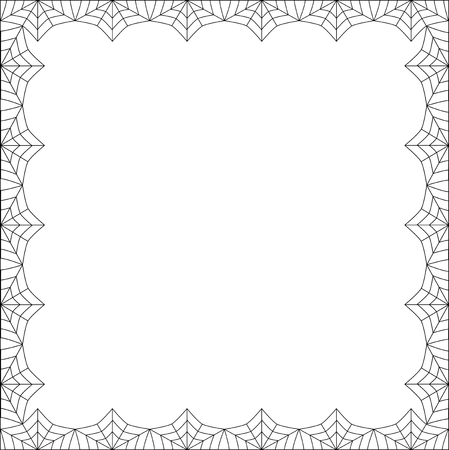Vector elegant rectangle black spiderweb frame with empty copy space for text isolated on white background. Template for invitation, flyer, fhotoframe, scrapbook or greeting card. Halloween border. Illustration