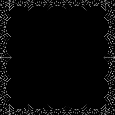 Vector elegant rectangle white spiderweb frame with empty copy space for text isolated on black background. Template for invitation, flyer, fhotoframe, scrapbook or greeting card. Halloween border.