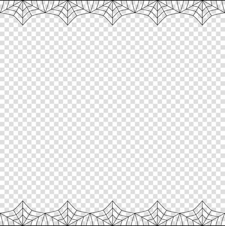 Halloween Rahmen. Vektor elegante doppelte oben und unten quadratische schwarze Spinnennetzgrenze mit Kopienraum für Text lokalisiert auf transparentem Hintergrund. Vorlage für Einladung, Flyer, Sammelalbum oder Grußkarte