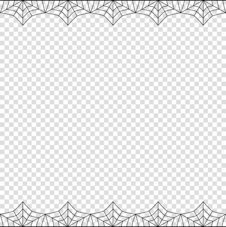 Halloween frame. Vector elegant double up and down square black spiderweb border with copy space for text isolated on transparent background. Template for invitation, flyer, scrapbook or greeting card Illustration