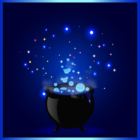 Black witch pot cauldron with boiling potion, glowing sparkles and bubbles on blue background. Halloween vector illustration, greeting card, icon, witch symbol. Design element for invitation, flyer.