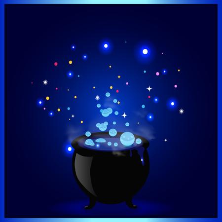Caldero de olla de bruja negra con poción hirviendo, destellos brillantes y burbujas sobre fondo azul. Ilustración de vector de Halloween, tarjeta de felicitación, icono, símbolo de bruja. Elemento de diseño por invitación, folleto. Ilustración de vector