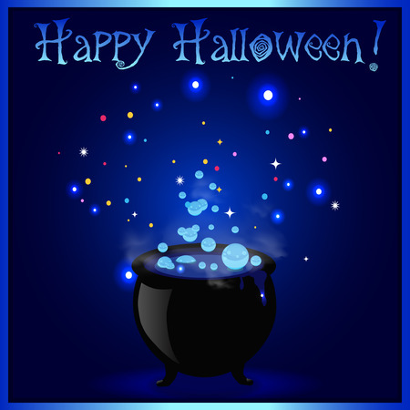 Happy Halloween greeting card. Witch cauldron with boiling sparkling potion and inscription on blue background. Vector cartoon illustration, invitation, symbol. Element for flyer, postcard design