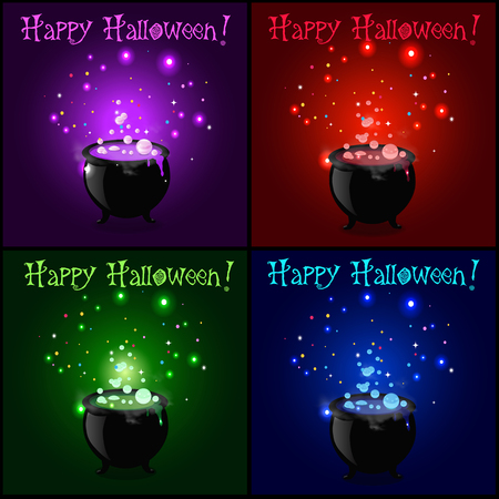 Happy Halloween greeting card set. Witch cauldron with boiling sparkling potion and inscription. Vector illustration, greeting card, icon, witch symbol. Design elements for invitation, flyer.