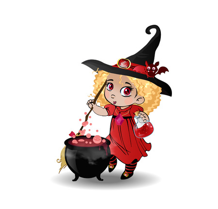 Vector cartoon illustration of little curly baby witch girl in red dress and cute bat on her hat stir boiling potion with broomstick in cauldron isolated on white background. Halloween clip art character