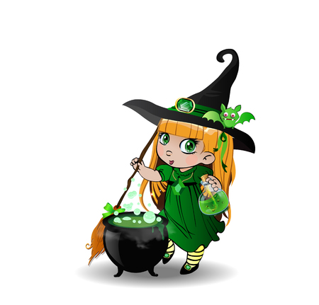 Vector cartoon illustration of little blonde baby witch girl in green dress and cute bat on her hat stir boiling potion with broomstick in cauldron on white background. Halloween clip art character