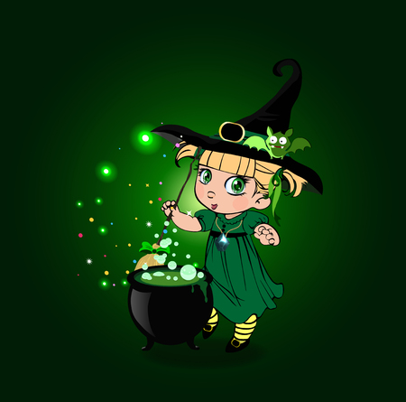 cartoon halloween illustration of little blonde baby witch girl in costume and cute bat on her hat stir boiling potion with broomstick in cauldron on green sparkling glowing background.