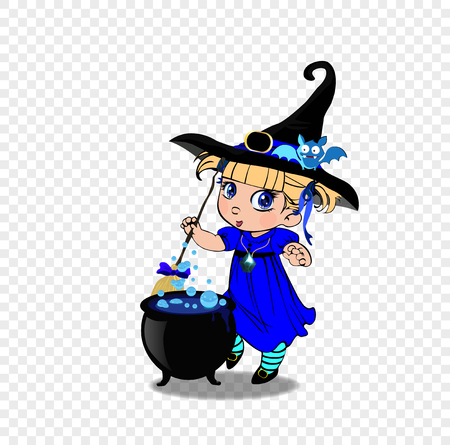 Vector cartoon illustration of little baby witch girl in blue dress and cute bat on her hat stir boiling potion with broomstick in cauldron on transparent background. Halloween clip art character
