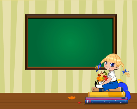 Cute cartoon school girl sitting on books pile with bouquet of autumn leaves near clear blackboard with copy space in classroom. Teachers day, back to school template for flyer, invitation, greetings.