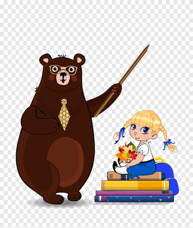 Glücklicher Lehrertag, zurück zu Schulevektorillustration des Karikaturbärenlehrers, der Zeiger und Schulmädchen hält, mit Blätterblumenstrauß, der auf Bücherstapel sitzt, lokalisiert auf transparentem Hintergrund, ClipArt. Vektorgrafik