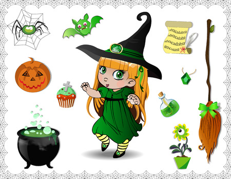 Green halloween cartoon set of various objects for witches and cute little witch girl in costume and hat isolated on white background. Vector icons, clip art, elements for game or character creation 向量圖像