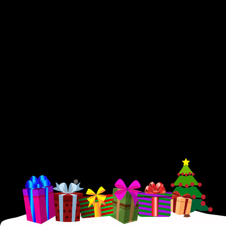 Colourful gift boxes on white snow drift, Christmas or new year border frame background. Vector illustration of presents decorated by ribbons and bows on night backdrop. Greeting template, clip art