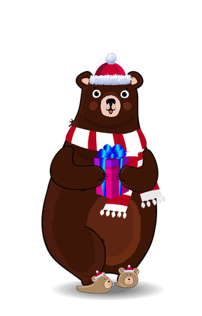 Vector illustration of cute cartoon bear character in red santa hat and knitted scarf holding gift box isolated on white background. Clip art for greeting card, flyer, invitation, element for design.