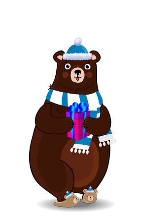 Vector illustration of cute cartoon bear character in blue santa hat and knitted scarf holding gift box isolated on white background. Clip art for greeting card, flyer, invitation, element for design.
