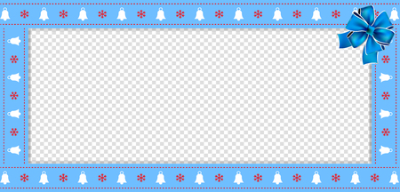 Cute Christmas or new year rectangle banner, border, frame with bells and snowflakes pattern and festive blue ribbon on transparent background. Vector illustration, banner, template with copy space Stock Illustratie