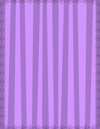 Sfondo viola a righe con strisce verticali carine incorniciate da ragnatela. Sfondo vettoriale, invito di Halloween, banner, poster o modello di biglietto di auguri con copia spazio vuoto per il testo.