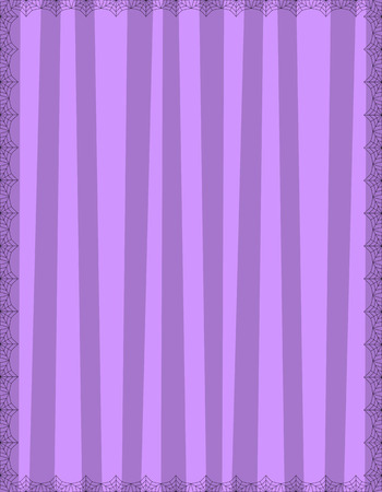 Striped purple background with cute vertical stripes framed with spider cobweb. Vector background, Halloween invitation, banner, poster or greeting card template with empty copy space for text.