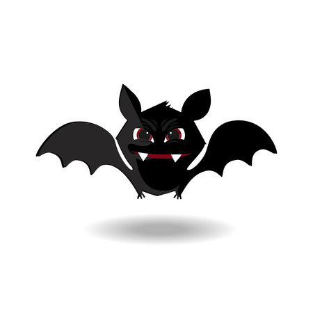 Cute flying cartoon bat with fangs and red eyes isolated on white background. Halloween clip art for greeting card or invitation design. Illustration