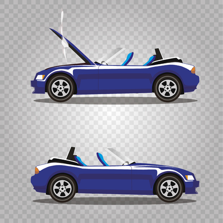 Vector set of broken navy blue luxury cabriolet sport cartoon car with opened hood covered with smoke. Car crash before and after. Clip art illustration isolated on transparent background.
