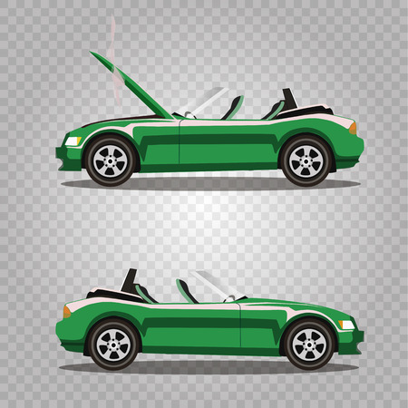 Broken lilac cabriolet sport cartoon car with opened hood covered with smoke. Car crash before and after. Vector illustration isolated on white background. Clip art.