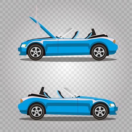 Insieme di vettore dell'automobile del fumetto di sport del cabriolet di lusso blu chiaro ciano rotto con il cofano aperto coperto di fumo. Incidente d'auto prima e dopo. Illustrazione di arte di clip isolata su sfondo trasparente. Vettoriali