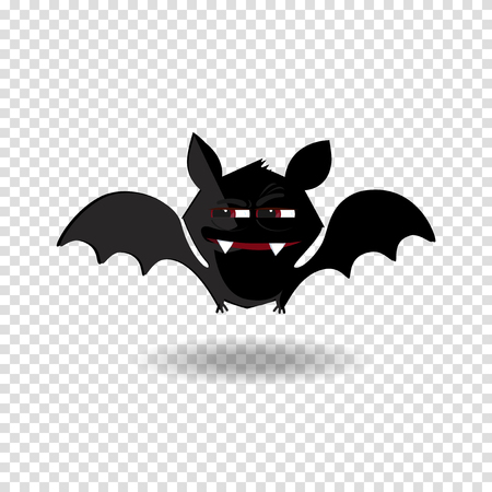 Halloween clip art character of happy flittermouse for kids party holiday greeting card, invitation and posters design. Cute flying cartoon bat with fangs and red eyes isolated on white background.