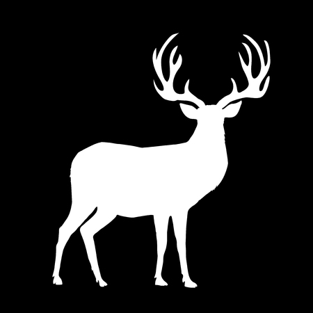 White silhouette of reindeer with big horns isolated on black background. Vector illustration, icon, sign, symbol of deer.
