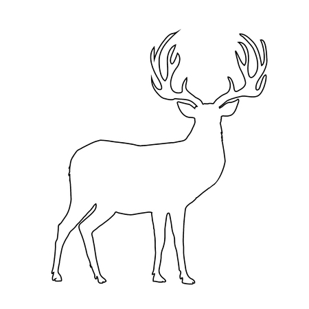 Black outline silhouette of reindeer with big horns isolated on white background. Vector illustration, icon, clip art, sign, symbol of deer for design, coloring book page.