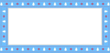 Cute Christmas or new year blue border with xmas bells and snowflakes pattern isolated on white background. Vector illustration, rectangle template, banner, frame, scrapbooking with empty copy space.
