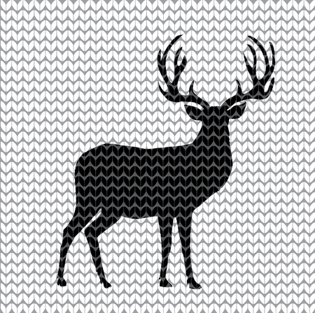 Black silhouette of knit reindeer with big horns on white knitted background. Vector illustration, icon, textile pattern, sign, symbol of deer for design.