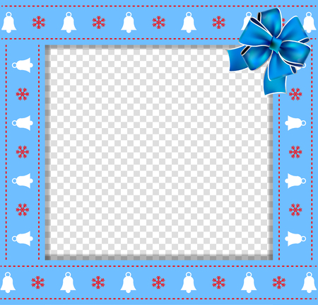 Cute Christmas or new year border with xmas bells, snowflakes pattern and blue bow on transparent background. Vector illustration, square template, photo frame, scrapbooking with empty copy space. Illustration