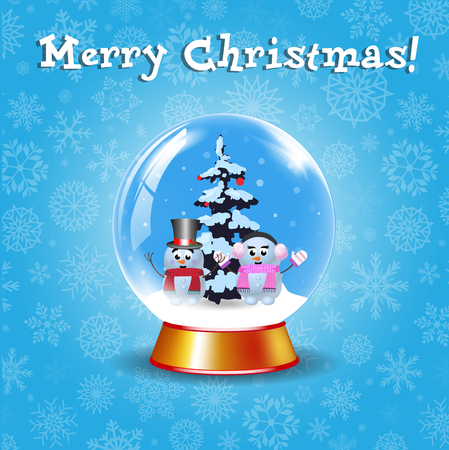 Merry Christmas greeting card with crystal snow globe with couple of cute snowmen and fir tree on winter blue snowy background with cute snowflakes. Vector cartoon illustration, banner, poster, postcard Stock Illustratie
