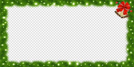 Realistic vector fir-tree rectangle border, frame with red bow and bells isolated on transparent background. Template with christmas tree branches and empty copy space for text. New year photo frame.