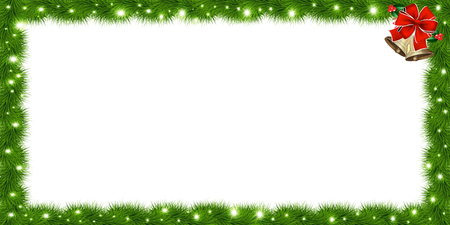 Realistic vector fir-tree rectangle border, frame with red ribbon and bells isolated on white background. Template with christmas tree branches and empty copy space for text. New year photo frame.
