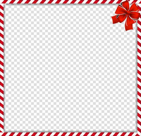 Cadre photo de Noël, nouvel an avec motif sucette rayé rouge et blanc et arc festif dans le coin isolé sur fond transparent. Frontière de Noël de vacances. Illustration vectorielle, modèle.