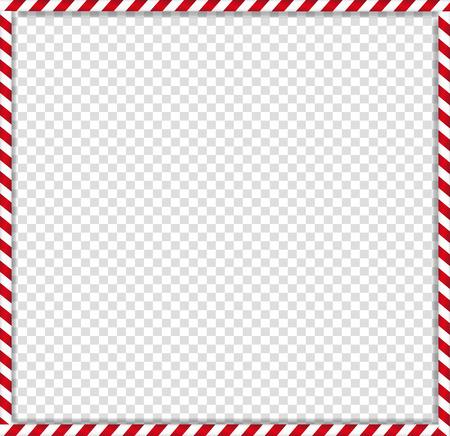 Navidad, marco de fotos de bastón cuadrado de año nuevo con patrón de caramelo de paleta de rayas rojas y blancas aislado sobre fondo transparente. Frontera de Navidad de vacaciones. Ilustración de vector, plantilla de scrapbooking. Ilustración de vector