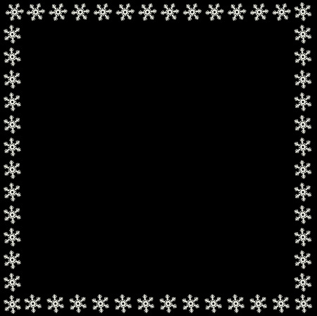 Snowflake border for Christmas and New Year holidays. Square snowflakes frame on black background. Vector template for banner, gift coupon, voucher, ads, party events. Scrapbook element, photo frame. Illustration