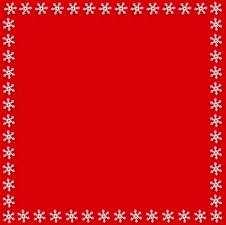 Snowflake border for Christmas and New Year holidays. Square snowflakes frame on red background. Vector template for banner, gift coupon, invitation, ad, party events. Scrapbook element, photo frame.