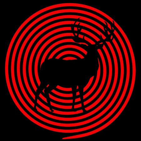 Vector black and red illustration of deer with crosshairs. Reindeer silhouette with big horns on hunting target aim background. Template for outdoor recreation, hunt season concept, sign, symbol