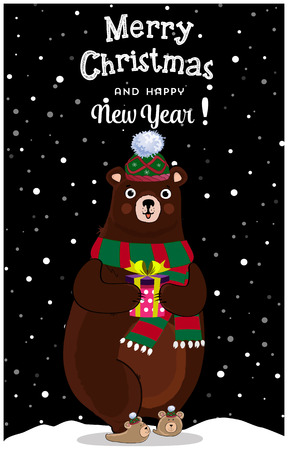 Merry christmas, happy new year greeting card of cute cartoon cheerful bear character in knitted hat and scarf with gift box on snowy winter night landscape background, lettering. Vector illustration.