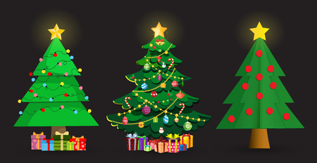 Set von niedlichen Cartoon-Weihnachtstannen. Sterndekorationen, Kugeln, Girlanden und viele Geschenkboxen auf schwarzem Hintergrund isoliert. Vektorillustration, Fichtenclipart, Elemente für Grußkartendesign
