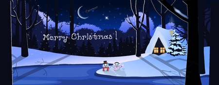 Merry christmas greeting card of winter snowy night landscape scene with little house in forest and cute snowmen under the moon light. Vector illustration, banner, poster, postcard.