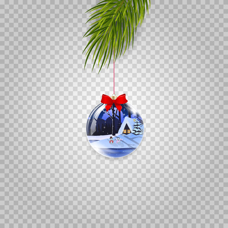 Christmas tree branch with xmas and new year ball decorated with winter house and red ribbon on transparent background. Vector illustration, clip art, icon, sign, symbol, element for greeting card Vektorové ilustrace