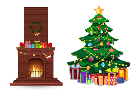 Cartoon set of decorated burning fire place and fir xmas tree with many gifts isolated on white background. Vector christmas or new year illustration, clip art, element for greeting card design.