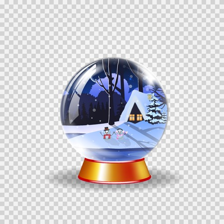 Christmas, new year crystal snow globe of winter snowy night landscape with little house and cute snowmen isolated on transparent background. Vector illustration, icon, clip art design element.