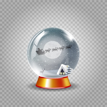 Christmas, new year crystal snow globe of winter snowy night landscape with little house and santa claus riding isolated on transparent background. Vector cartoon illustration, icon, clip art, element
