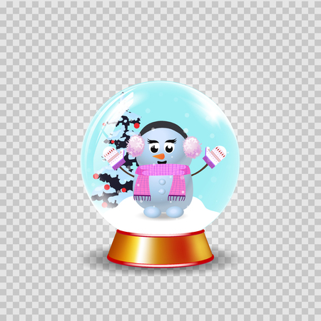 Christmas, new year crystal snow globe with cute snowman girl and fir tree isolated on transparent background. Vector cartoon illustration, icon, clip art, element for festive design. Stock Illustratie