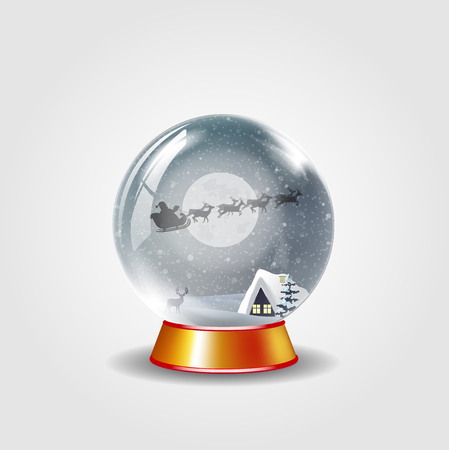 Christmas, new year crystal snow globe of winter snowy night landscape with little house and santa claus riding isolated on white background. Vector cartoon illustration, icon, clip art, element